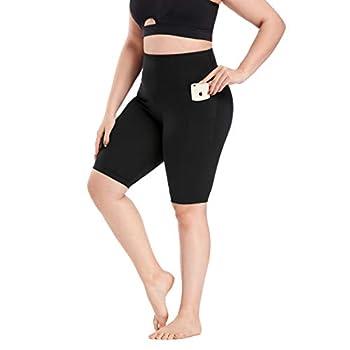 Yoga Shorts for Women Plus Size Tummy Control Lift The Hip XL-4XL Black Capri Leggings