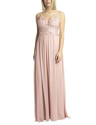 APARt märchenhaft schnes Damen Kleid lang, Abendkleid, Ballkleid, mit Blütenspitze und glitzernden Steinchen besetzt, Empire Style, rosé, 40