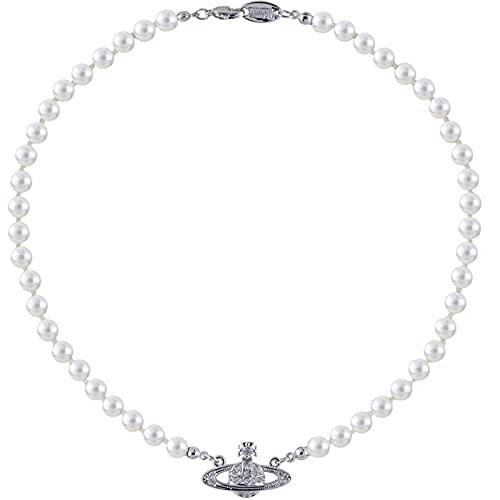 Gespout Collar de Perlas SintéTicas de ImitacióN Collar de Las SeñOras del Collar de La Perla Del Motivo de Saturno Para La Fiesta de CumpleañOs Del Banquete