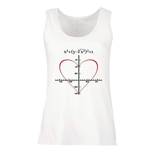 lepni.me Camisetas sin Mangas para Mujer Fórmula de Matemáticas del Amor Ecuación matemática Regalo para el Profesor (Small Blanco Multicolor)