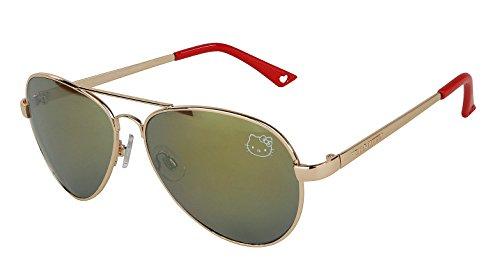 Womens Contemporary Hello Kitty Classic Silver Aviator Sunglasses (Red Handle)