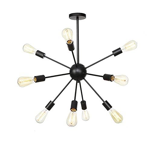 HLY Luci per soggiorno, lampadario Sputnik di metà secolo, lampada a sospensione con base E27 vintage industriale, plafoniera in ferro battuto, lampada a sospensione per scale soggiorno casa nera a 9