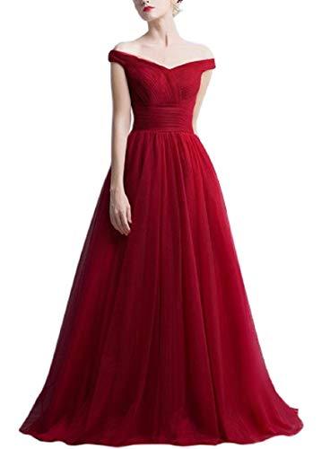 Romantic-Fashion Damen Ballkleid Abendkleid Brautkleid Lang Modell E270-E275 Rüschen Schnürung Tüll DE Bordeauxrot Größe 42