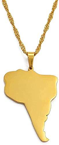 Aluyouqi Co.,ltd Collar Collar Collar América del Sur Mapa del Continente Collares Pendientes Joyería De Color Dorado Regalo Sudamerica/America Do Sul Mapa