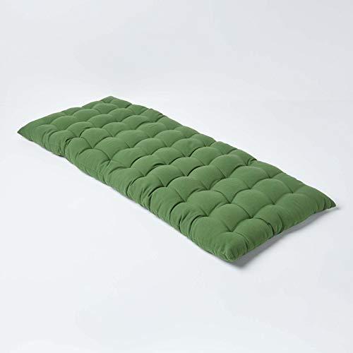 Homescapes 2er Bankauflage aus 100% Baumwolle, dunkelgrün 108 x 42 x 5cm, Bequeme Sitzkissen Bank und Gartenbank Auflage hochwertige einfarbige Polsterauflage für Gartenmöbel