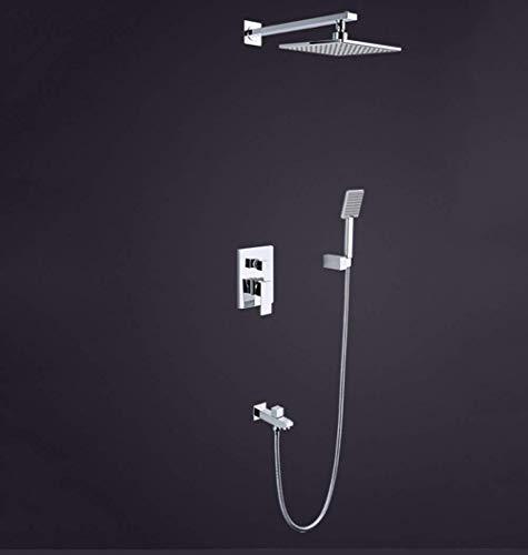 Yhtech Una ducha for el baño de lluvia en el chorro de pared de 8 pulgadas en cuadrado tipo Cascade pulido de cobre cromo junto ducha moderna mezclador de ducha de mano (Color: Plata) Juego de ducha