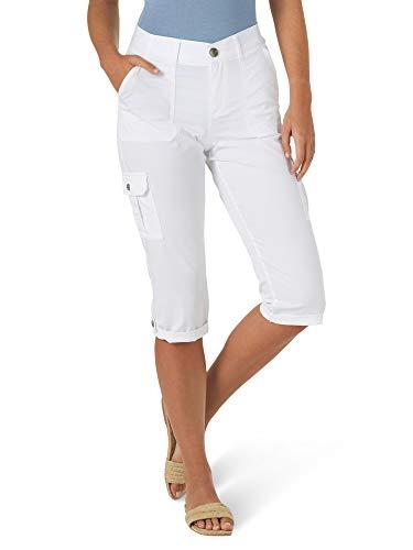 Lee Women's Flex-to-Go Mid Rise Cargo Capri Pant, White, 12