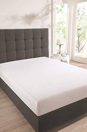 Schiesser Premium Spannbettlaken Jersey-Elasthan, 95% Gekämmte Baumwolle, 5% Elasthan, Wasserbett- / Boxspringbettgeeignet, Farbe:weiß, Größe:150 cm x 200 cm