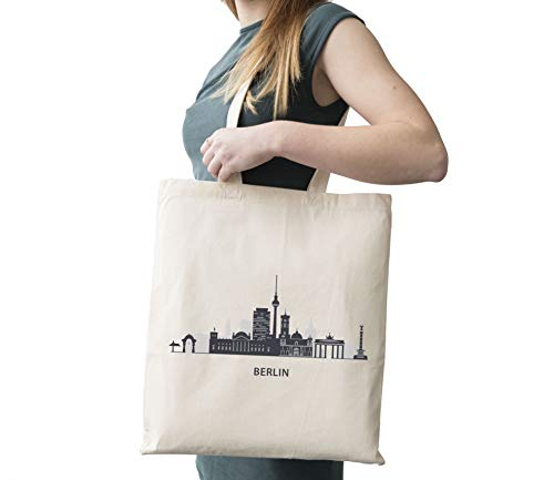 Berlin Silhouette Berliner Fernsehturm Fernmeldeturm Berlin Windkraftanlage Pankow Berliner Funkturm Steglitzer Kreisel Cotton Canvas Tote Carry All Day Bag