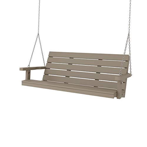 SimplyPoly Amish Made Signature Recycled Plastic Porch Swing (4 Foot, Weathered Wood)