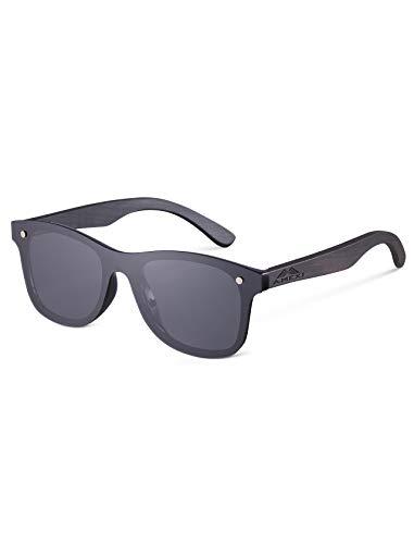 Amexi gepolariseerde zonnebril voor mannen en vrouwen, houten zonnebril, UV 400 bescherming