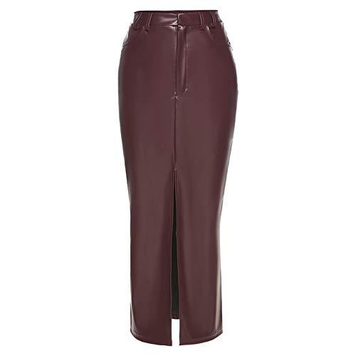 Skirts Otoño Sólido Pu Cuero Mujeres Largas Moda Cintura Alta Split Ropa Señora Casual Recta 2020 Nuevo