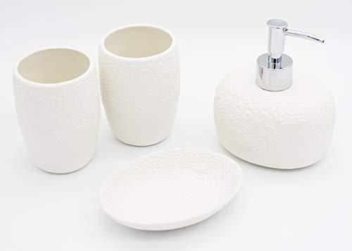 Deqoration - 4pcs Accessori Bagno in Ceramica di Lusso, Classic Design Set Bagno, Set da Bagno Accessori Completo
