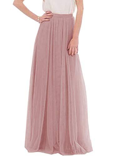 Anikigu Falda de Tul Larga para Mujer Faldas Maxi Elegantes para Bodas, Oscuro Rosa