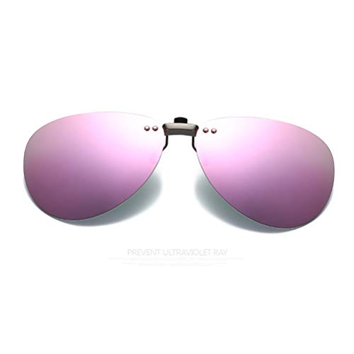 クリップオン オーバーサングラス 偏光レンズ uv400カット を防ぐ 超軽量 屋外の活動用 クリップオン 近視のためにと 偏光サングラス 跳ね上げ式 男女兼用 (Pink)