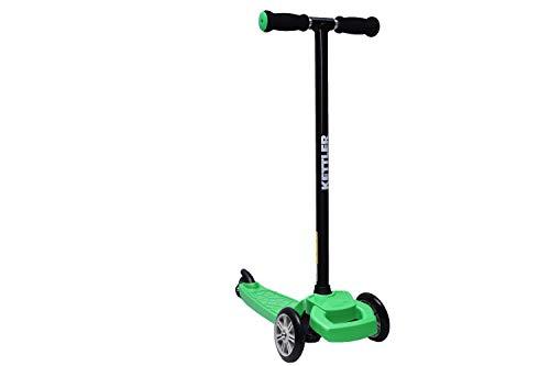 KETTLER Kinderscooter Kickboard KWIZZY, für Kinder ab 3 Jahren, stabiles Fahrverhalten durch Zwei Vorderräder, mit Kick-Fußbremse TÜV zertifizierte Sicherheit und Fahrverhalten (Grün)