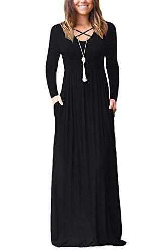 LILBETTER Women's Long Sleeve Loose Plain Maxi Dresses Casual Long Dresses with Pockets (Black, Medium)