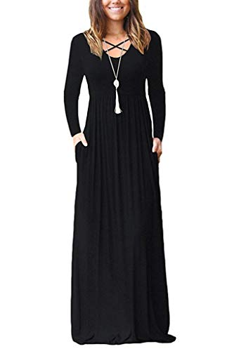 LILBETTER Women's Long Sleeve Loose Plain Maxi Dresses Casual Long Dresses with Pockets (Black, XX-Large)