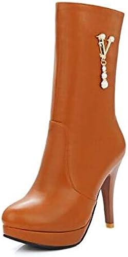 IWxez Stiefel de Moda para damen PU (Poliuretano) Stiefel de otoño Tacón de Aguja Botines con Punta Cerrada Botines schwarz Beige   Weiß Gelb