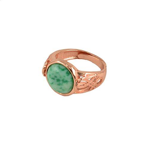 yotijar Anillo ajustable cabujón con flor grabada con colgante opalita con piedras preciosas de boda Verde