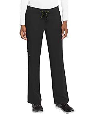 Med Couture Activate Women's Yoga One Pocket Cargo Scrub Pant, Medium Petite, Black