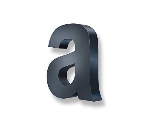 Metzler 3D Hausnummer in Anthrazit aus Stahl - Hausnummer mit Pulverbeschichtung in Feinstruktur 7016 Anthrazitgrau matt - Höhe 20cm / Tiefe 3,5 cm - inkl. Montagematerial - Buchstabe a