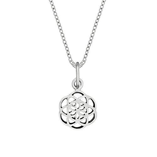 81stgeneration Collar Colgante Semilla de la Vida Mujer Plata de Ley Esterlina .925, 46 cm