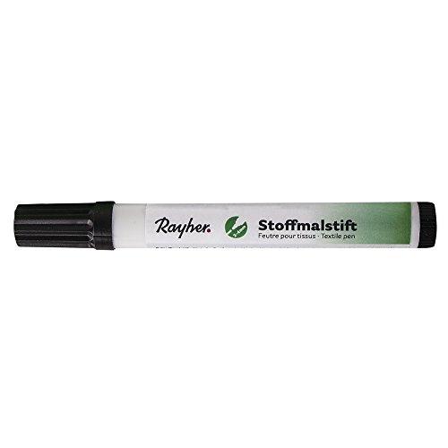 Rayher 3825401 Stoffmalstifte, Dicke Spitze, schwarz