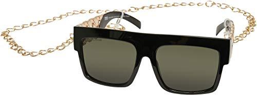 Urban Classics Sunglasses Zakynthos with Chain Gafas, Negro/Dorado, Talla única Unisex Adulto
