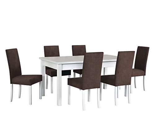 Mirjan24 Esstisch mit 6 Stühlen DM21, Sitzgruppe, Tischgruppe, Esstischgruppe, Esstisch Stuhlset, Esszimmer Set, Esszimmergarnitur, DMXZ (Weiß/Weiß Inari 24)
