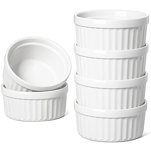 LE TAUCI Ramekins 4 oz, Creme Brulee Set, Souffle Dish Oven Safe, Custard Cups for Baking, Dipping Sauces Ramekin, for Pudding, Set of 6, White
