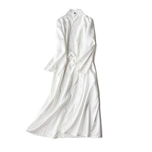 zyy Lace Long Robe Verano Ladies Nightgowns Thin Bathrobe Damas Silky Bathrobe Mujeres Interior Nighty (Color : White, Size : L)