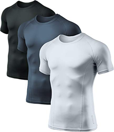 ATHLIO Men's Cool Dry Short Sleeve Compression Shirts, Sports Baselayer T-Shirts Tops, Athletic Workout Shirt, 3pack(bts02) - Black/Charcoal/White, Large