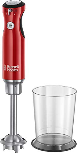 Russell Hobbs Stabmixer Retro rot, 700W, Infinity-Mix-Technologie, Messbecher + Deckel, BPA frei, spülmaschinenfest, Zerkleinerer, Pürierstab, Smoothie, Suppen, Joghurt, Saucen, Babynahrung, 25230-56
