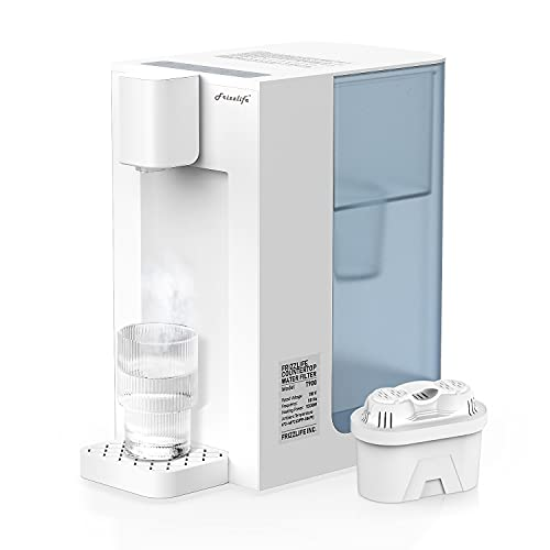 Frizzlife T900 Countertop Water Filtration System, Instant Hot Water Filter Dispenser, 4 Temperatures, Large Capacity, High Temp Safety Lock, Zero Installation, UL Standard Tested, 1 Filter Included