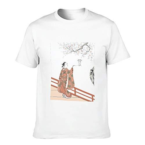 Camiseta de algodón Ukiyo e adulto fina para uso diario, cuello plano, cultura japonesa blanco S