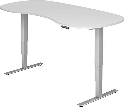 bümö® ergonomischer Schreibtisch elektrisch höhenverstellbar | elektrischer Bürotisch | höhenverstellbarer Büroschreibtisch mit Memoryfunktion in Nierenform: 200x100 cm Weiß