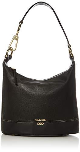 Calvin Klein Sophia Micro Pebble Leather Hobo Shoulder Bag, Black/Gold