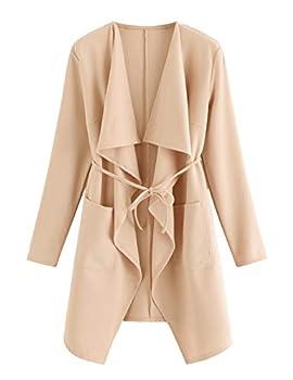 ROMWE Women s Waterfall Collar Long Sleeve Wrap Trench Coat Duster Cardigan Jacket Peach M