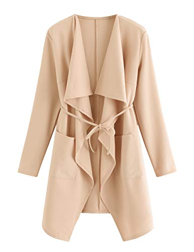 ROMWE Women's Waterfall Collar Long Sleeve Wrap Trench Coat Duster Cardigan Jacket Peach L