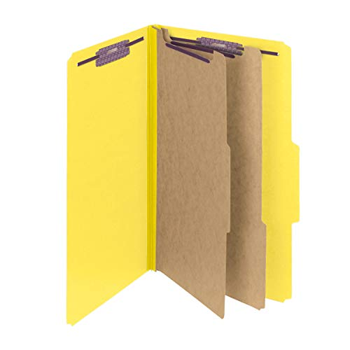 """Smead Pressboard Classification File Folder with SafeSHIELD Fasteners, 2 Dividers, 2"""" Expansion, Legal Size, Yellow, 10 per Box (19034)"""