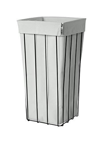 ABOUT YOU The Cage - Cesto para la ropa sucia con bolsa separada, espaciosa y estable para ropa, diseño negro, de metal (gris claro)