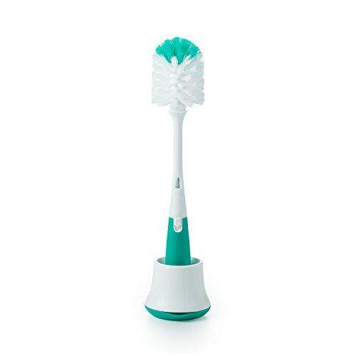 OXO Escova de mamadeira Tot com limpador de mamilo e suporte, azul-petróleo