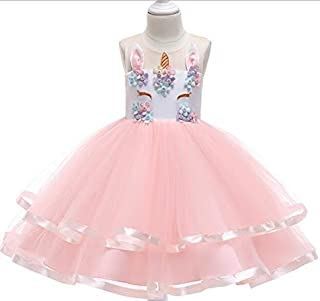 Fairy Kids Unicorn Costume Dress Girl Princess Flower Pageant Party Tutu Layered Dresses For 3 to 10 Years Old