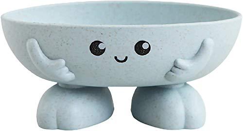 LAKITY Seifenhalter, umweltfreundlich, Cartoon-Design, blau, für Kinder, kreatives Seifenschale für Badezimmer, Badewanne, Waschbecken, rutschfeste Seifenschale