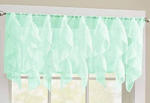 """Sweet Home Collection Veritcal Kitchen Curtain Sheer Cascading Ruffle Waterfall Window Treatment - Choice of Valance, 24"""" or 36"""" Teir, and Kit, Mint"""