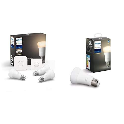 Philips Hue White - Bombilla LED inteligente E27, luz blanca cálida, compatible con Bluetooth y Zigbee, funciona con Alexa y Google Home + Philips Hue White Bombilla LED inteligente E27