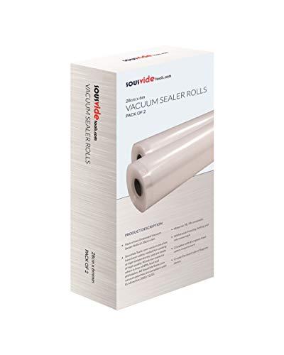 SousVideTools Vakuumier-Rollen für Lebensmittel und Lebensmittel, 28 cm breit x 6 m lang, insgesamt 12 m, 28cm (W) x 6 meter (L), farblos, SVT-ROLLS-28X10