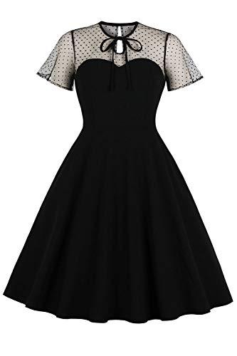 Babyonline® Damen Cocktailkleid mit Schlüsselloch-Krawatte, gepunktet, Vintage-Stil, Übergröße, Schwarz, XXXXL
