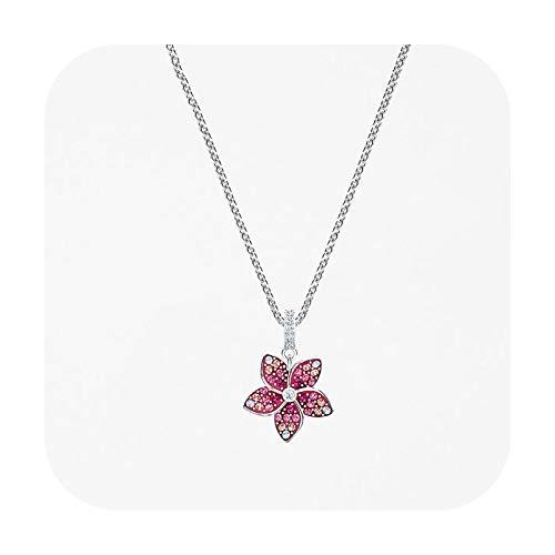 BSbattle Fashion Jewelry SWA1:1, Charm simple Bowknot pequeño margarita flor luna herradura piano hoja cristal collar femenino